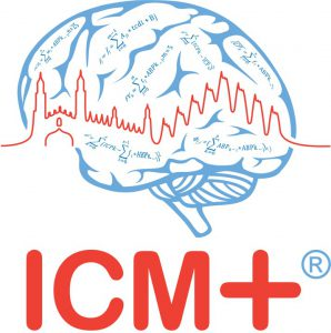 """Illustration of a brain in outline, overlain with what appears to be an ECG trace combined with the outline of King's College chapel. The words """"ICM +"""" are written underneath in large red capital letters."""