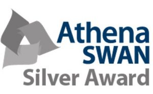 "Athena SWAN logo with the words ""Silver Award"" underneath it"
