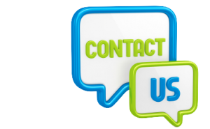 "Illustration with the words ""Contact Us"" outlined in two speech bubbles"