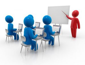 Illustration of a red stick person pointing to a whiteboard teaching four seated blue stick persons